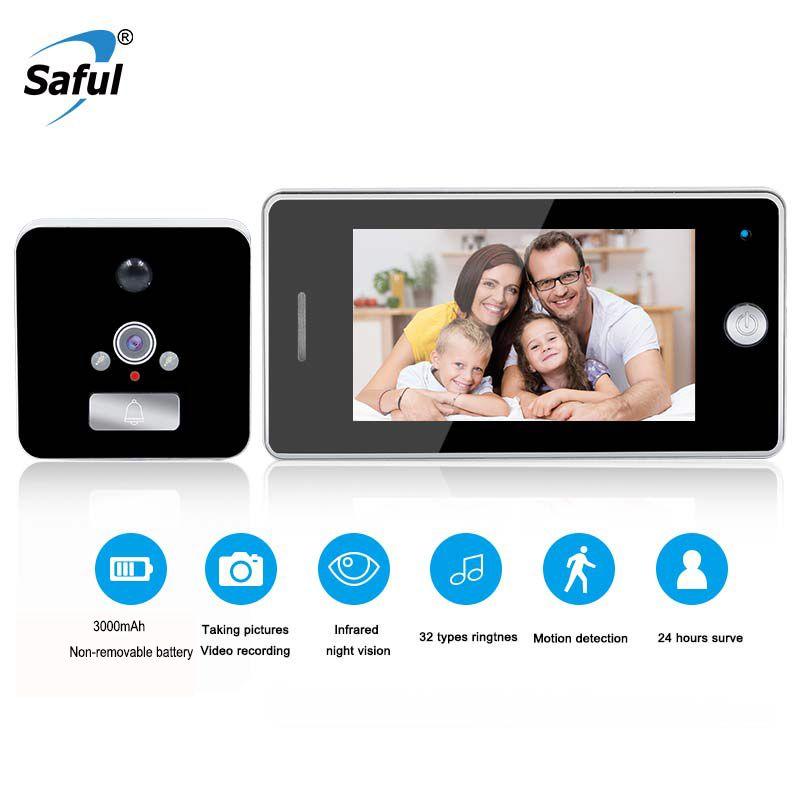 Saful 3000mAh Wireless Door Camera LCD Color Screen Door Peephole Viewer Video Recording Motion Detect Doorbell Camera Video-eye