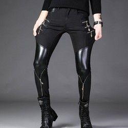 Musim Semi Korea Gaya Pria Hitam Celana Kulit PU Kulit Sepeda Motor Sepeda Kurus Pribadi Zipper Rock Hombre Pensil Celana