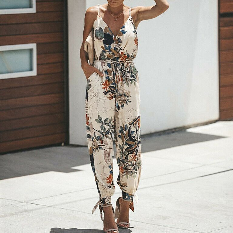 2019 Summer Women Holiday Casual Sleeveless Jumpsuits Fashion Ladies Boho Floral Bodysuit Wide Leg Loose Long Pants Trousers