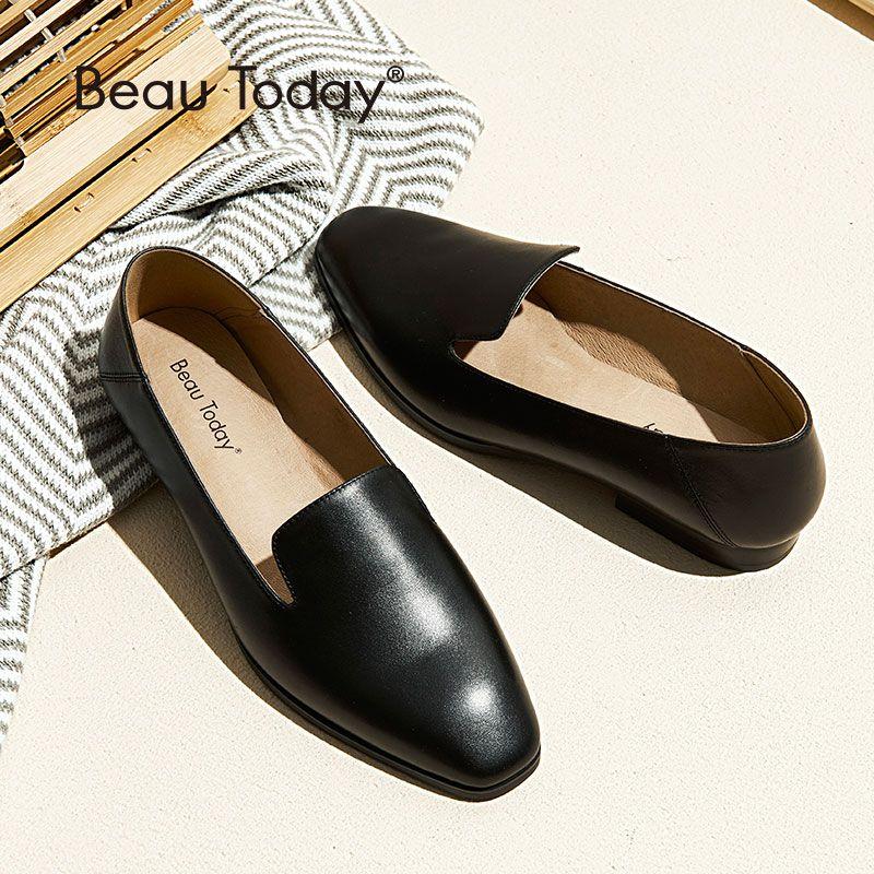 BeauToday Faulenzer Frauen Kalbsleder Leder Marke Zehe Slip-Auf Dame Wohnungen Top Qualität Schuhe Handgemachte 27089