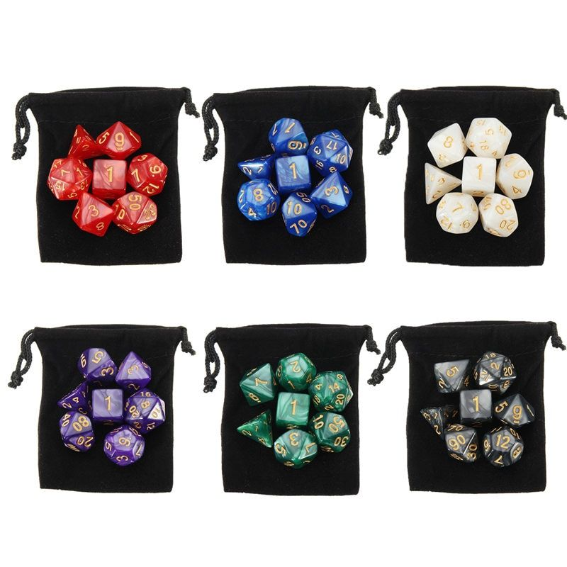 Hot Sale 42pcs 6 Colors Game Polyhedral Digital Dice 4D 6D 8D 10D 12D 20D Acrylic + 6 Bags Polyhedral Dice Rpg Game Dice