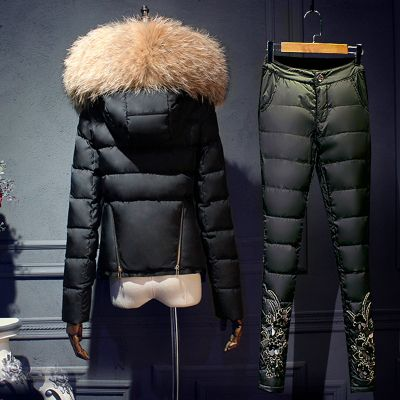 Large fur hood down coat 2016 Winter jacket women down jackets women's Jacket +pants sets outerwear suit set tops+trousers