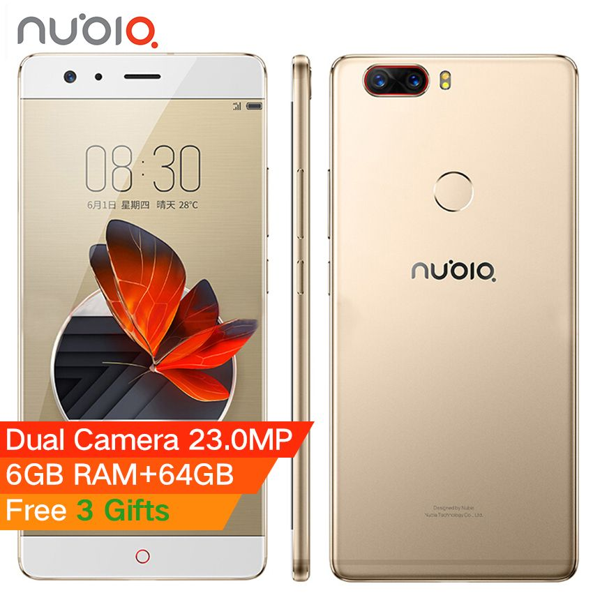 Original Nubia Z17 5.5 inch Borderless Mobile Phone 6GB RAM 64GB Snapdragon 835 Octa Core Android 7.1 23.0MP 12.0MP Dual Camera