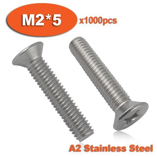 1000pcs DIN965 M2 x 5 A2 Stainless Steel Screw Cross Recessed Countersunk Flat Head Screws