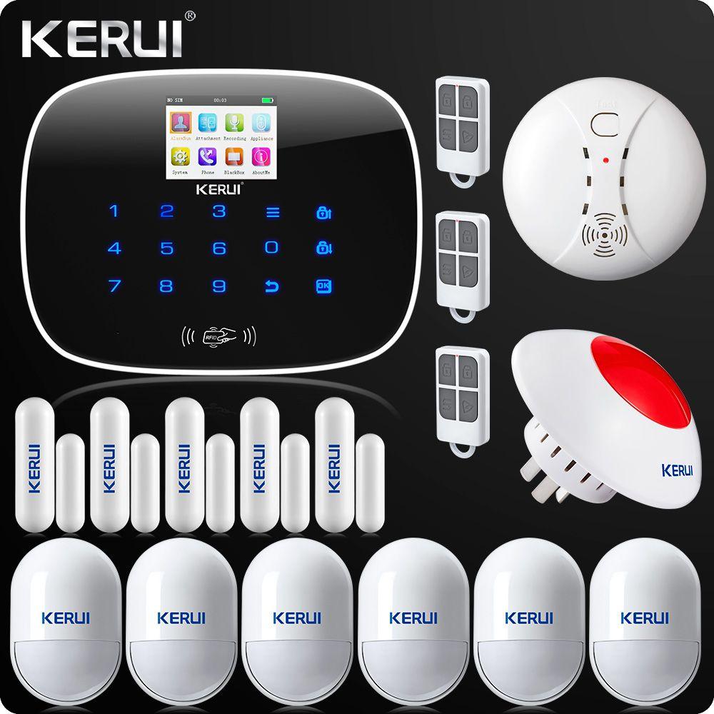 KERUI G19 APP Control Touch Screen Alarm Wireless GSM SMS Intruder Security Alarm System PIR Motion Wireless Siren Smoke Sensor