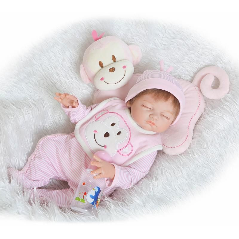 Bebe Reborn 50cm Silicone Reborn Dolls Babies Dolls Closed Eyes Lifelike Sleeping Newborn Baby Best Baby Toys Gift Juguetes