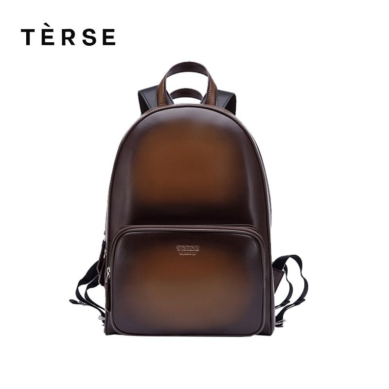 TERSE New Backpack Handmade Leather Men/Women Fashion Bag in blue coffee breathable genuine leather back bags customize logo HOT