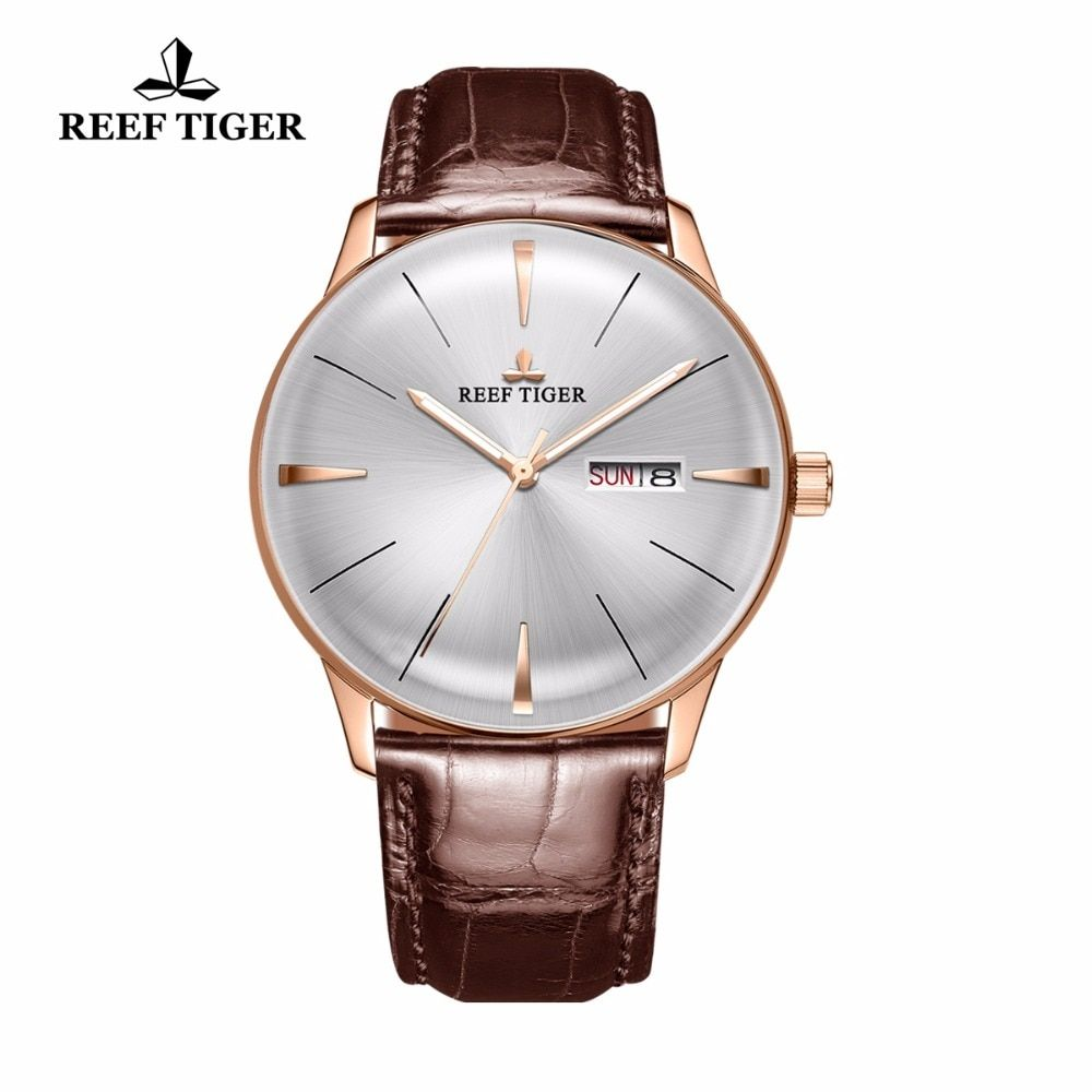 Reef Tiger/RT Simple Dress Watches for Men Rose Gold Leather Strap Automatic Watches Convex Lens Watch RGA8238