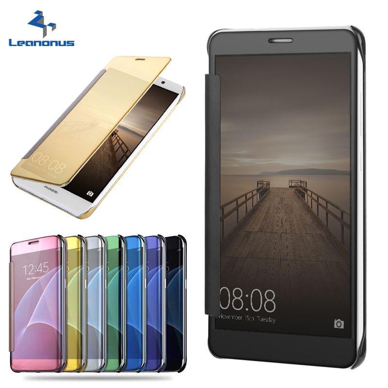 Leanonus Clear View Smart Case For Huawei P8 lite P9 lite Honor 7 lite 5C Mate 7 8 Mate9 Enjoy 5 Flip Leather Hard Cover