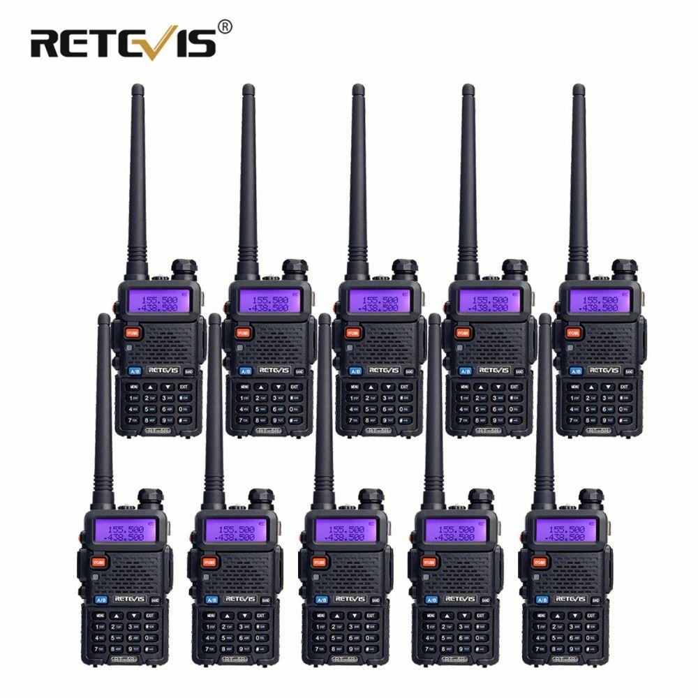 10pcs Retevis RT5R Walkie Talkie 5W 128CH VHF UHF Dual Band VOX FM Radio Portable Ham Radio Amador Hf Tranceiver Communicator