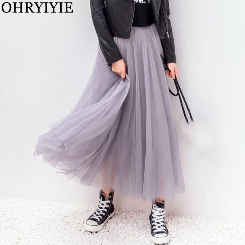 OHRYIYIE 2019 automne hiver Vintage jupes femmes élastique taille haute Tulle maille Jupe Longue plissée Tutu Jupe femme Jupe Longue