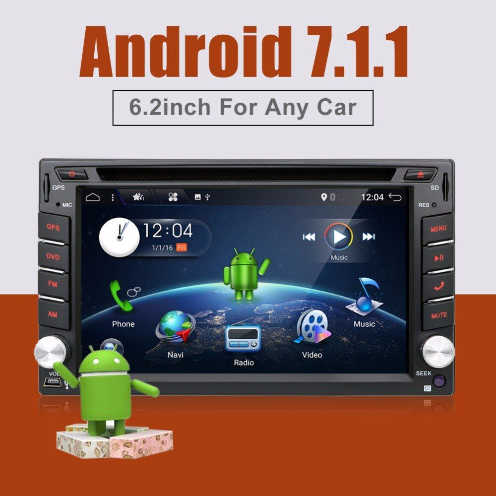 Quad 4 Core 2din android 7.1 2 din radio tape recorder Car DVD Player GPS Navigation In dash steering wheel
