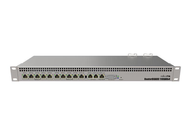 MikroTik RouterBOARD RB1100AHx4 Geck Edition mit 13 Gigabit Ethernet-Ports, RS232 Serial Port und Dual Redundante Netzteile