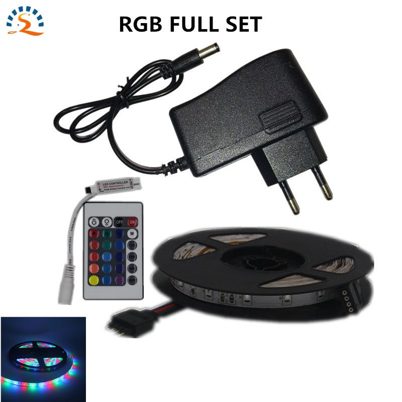 5m RGB LED Strip Flexible light belt 2835 waterproof ws2812b Diode band/diode tape Power supply 12v