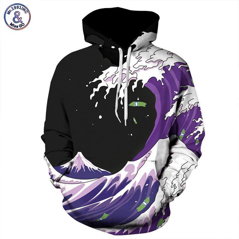 Mr.1991INC Autumn Winter Fashion Men/Women Hoodies Hooded With Hat Print Sea <font><b>Waves</b></font> Thin Style 3d Sweatshirts