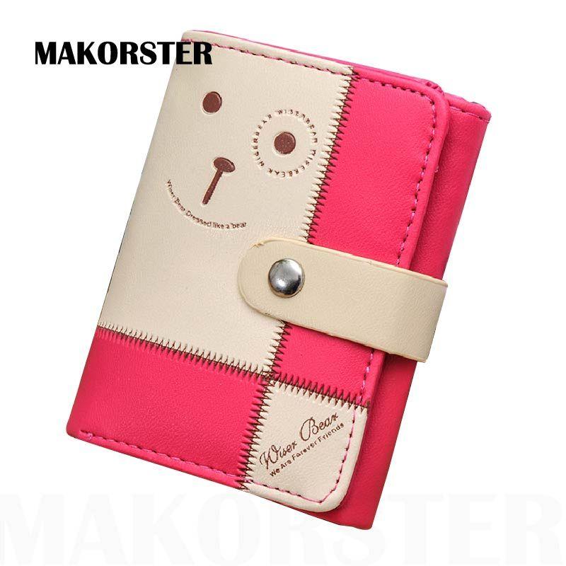 MAKORSTER Mode Damen Marke Frauen Pu-leder Kreditkarteninhaber Geld Brieftaschen und Geldbeutel für Weibliche Mädchen Bär brieftasche XH143
