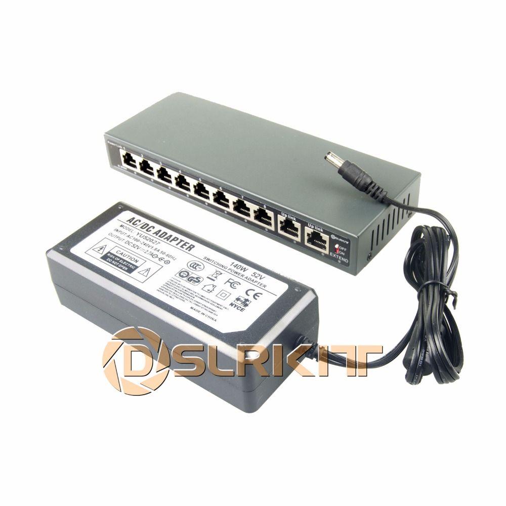 DSLRKIT 250 M 10 Ports 8 Commutateur PoE Injecteur Power Over Ethernet 52 V 120 W max140W + 52 V 2.7A AC Power adapter