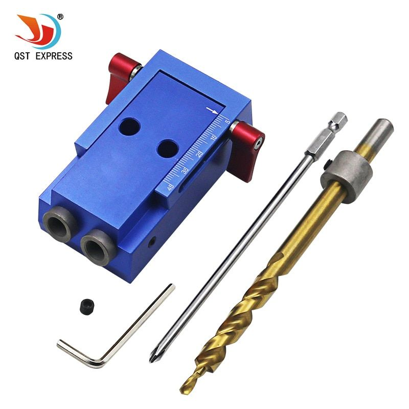 Mini Style Pocket Hole Jig Kit System For Wood Working & Joinery + Step Drill Bit & Accessories Wood Work Tool Set