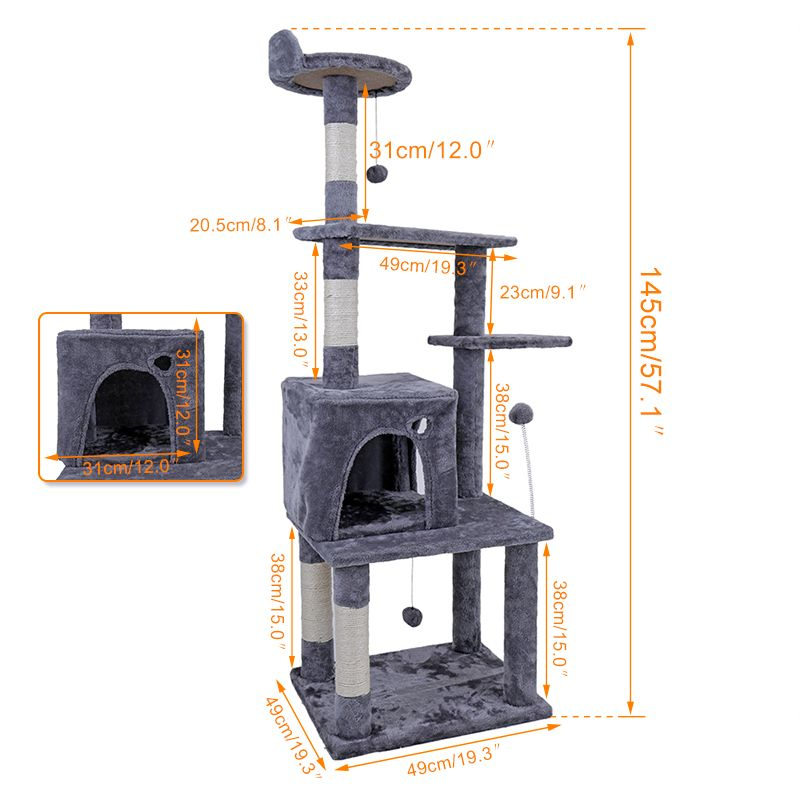 RU Domestic Delivery Cat Tree 145CM House for Cat Cat Tree Tall Cat Tower Bed Indoor Sleeper With Scratching Post Kitten Toys