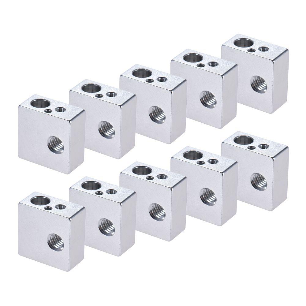10pcs Aluminum Heater Block All-Metal 20 * 20 * 10mm for MK7 MK8 Extruder RepRap Prusa i3 DIY 3D Printer Hot End Reprap Makerbot