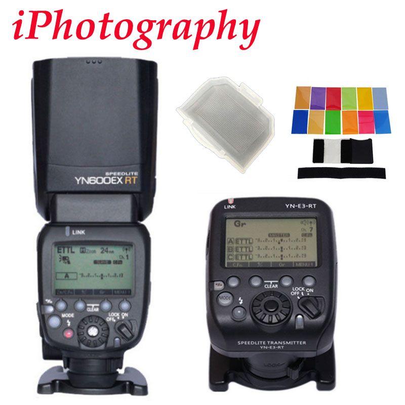 YONGNUO YN600EX-RT II 2.4G Wireless HSS Master Flash for Canon Camera as 600EX-RT II + YN-E3-RT TTL flash trigger + diffuser
