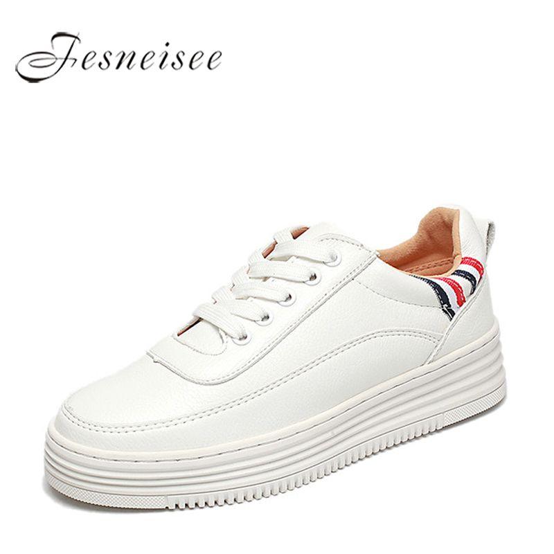 2018 Spring New Designer Wedges Women Vulcanize White Platform Sneakers Women Shoes Tenis Feminino Casual Female Shoes Size43 P6