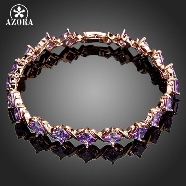 AZORA Elegant Rose Gold Color 19pcs Purple Cubic Zirconia Stones Bracelet TS0069