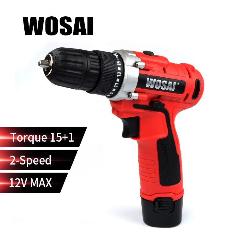 WOSAI 12 V Max Électrique Tournevis Perceuse sans fil Mini Sans Fil Conducteur à Réglage Électrique DC Lithium-Ion Batterie 2-Vitesse