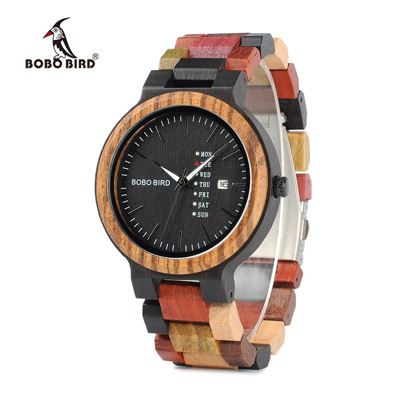 BOBO BIRD P14 Antique Mens Wood Watches Date and Week Display Business Watch with Unique Mixed Color Wooden Band
