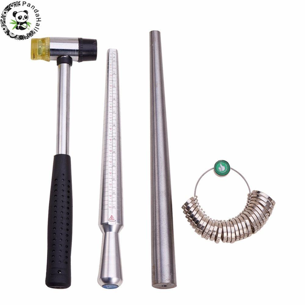 4 pièces/ensemble anneau agrandisseur bâton mandrin poignée marteaux anneau Sizer doigt mesure bâton bijoux outils environ 25 ~ 28 cm/1.1 cm F80