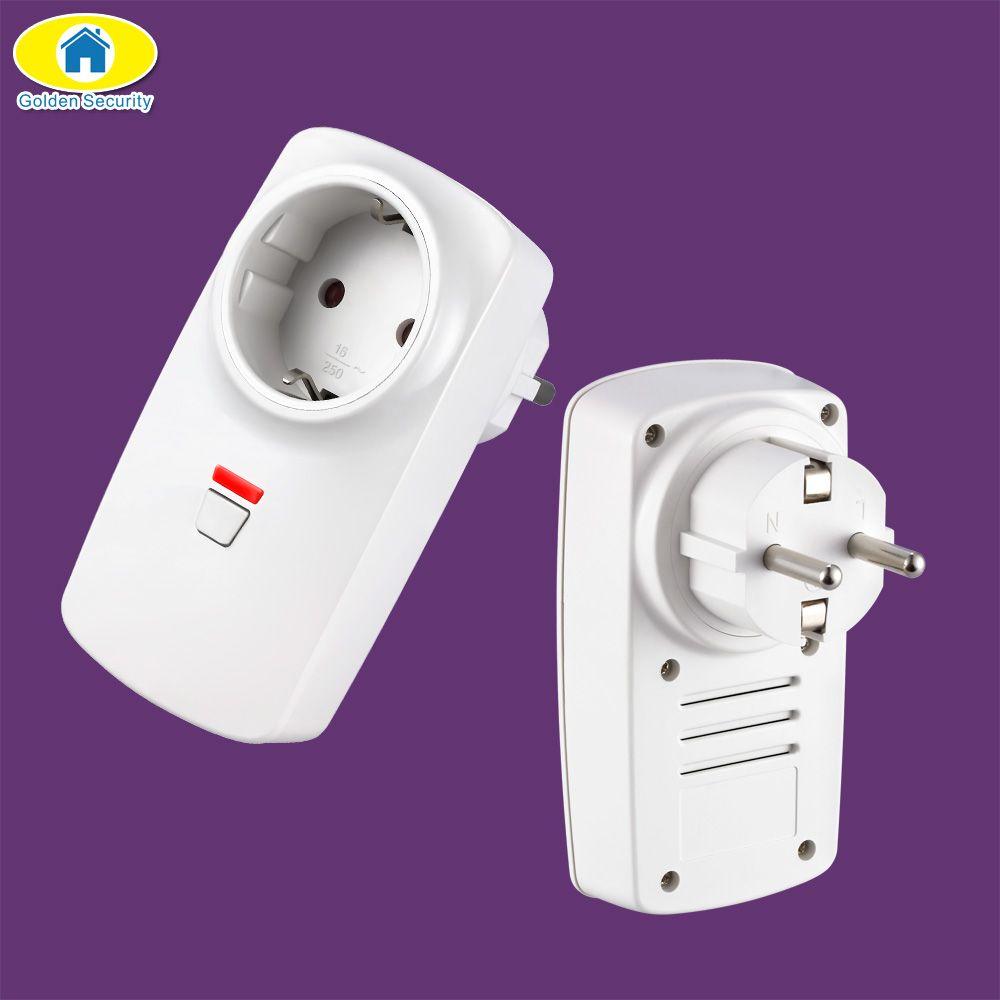 Doré sécurité sans fil télécommande intelligente sans fil prise adaptateur interrupteur prise de courant pour Wifi GSM système d'alarme G90B Plus