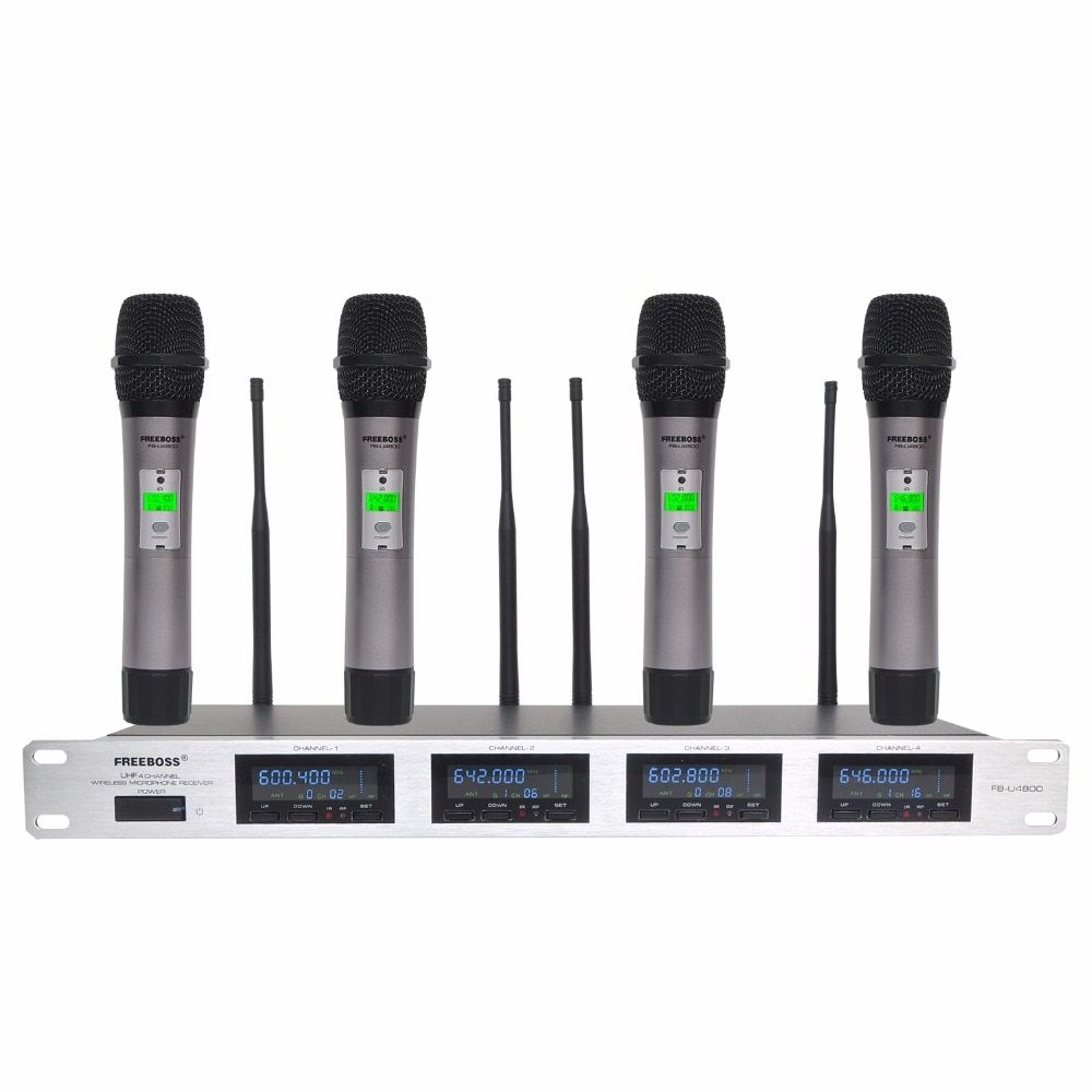 Freeboss 4 Way 4*100 Channels PLL IR Frequency UHF Wireless Microphone With 4 Metal Handhelds for Karaoke KTV Party Dynamic Mic
