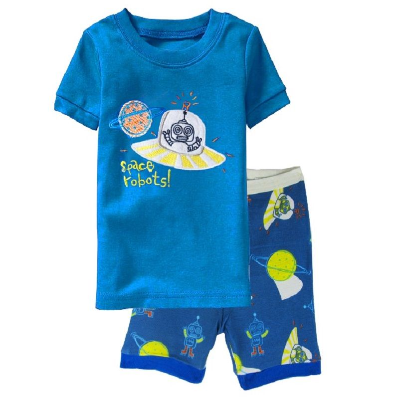 Space Robots Children Pajamas Sets Summer Short Pyjamas Boys clothes Pijama Suit Girls Sleepwear Nightgown Cotton T-Shirt Pants