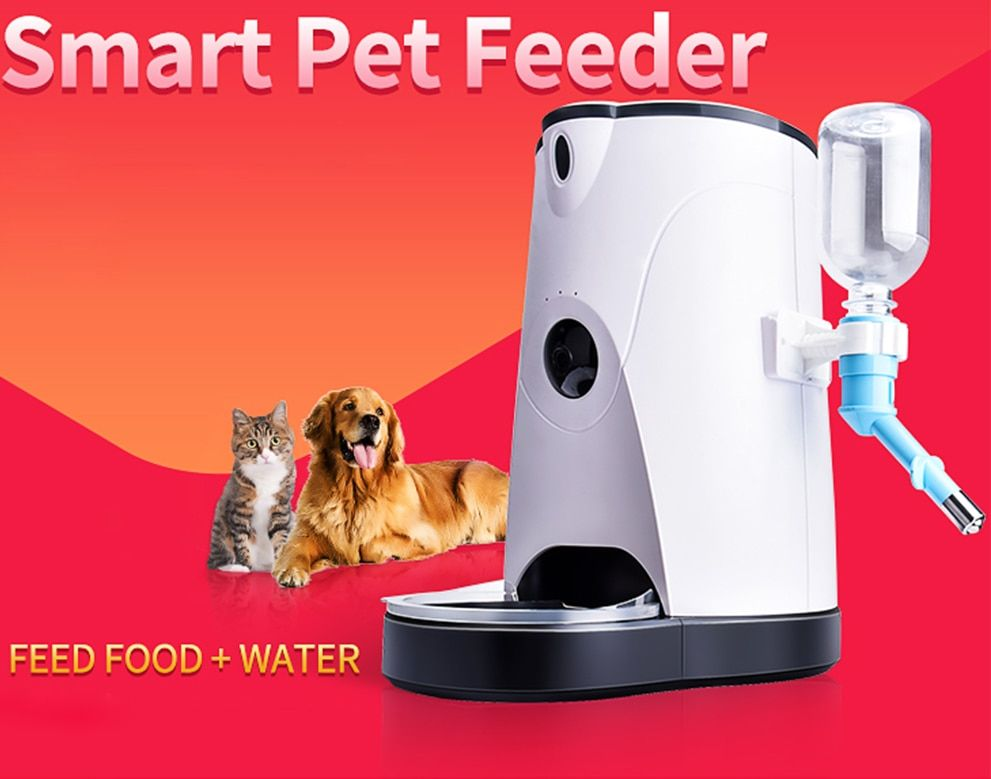 Automatic Smart Pet Feeder Camera With Water Feeding Wireless WIFI Camera IP for Dogs&Cats Remotely Monitoring Feeding