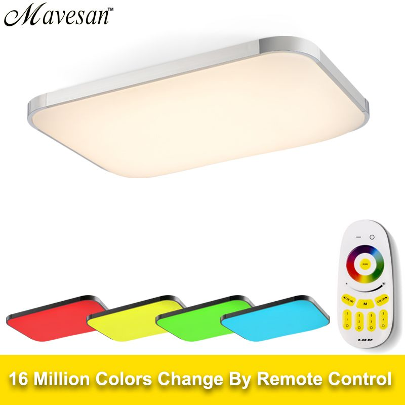 Modern LED Ceiling Lights Lamp RGB for living room bedroom 90-260V dimmer square flush mount ceiling led plafondlamp kids room