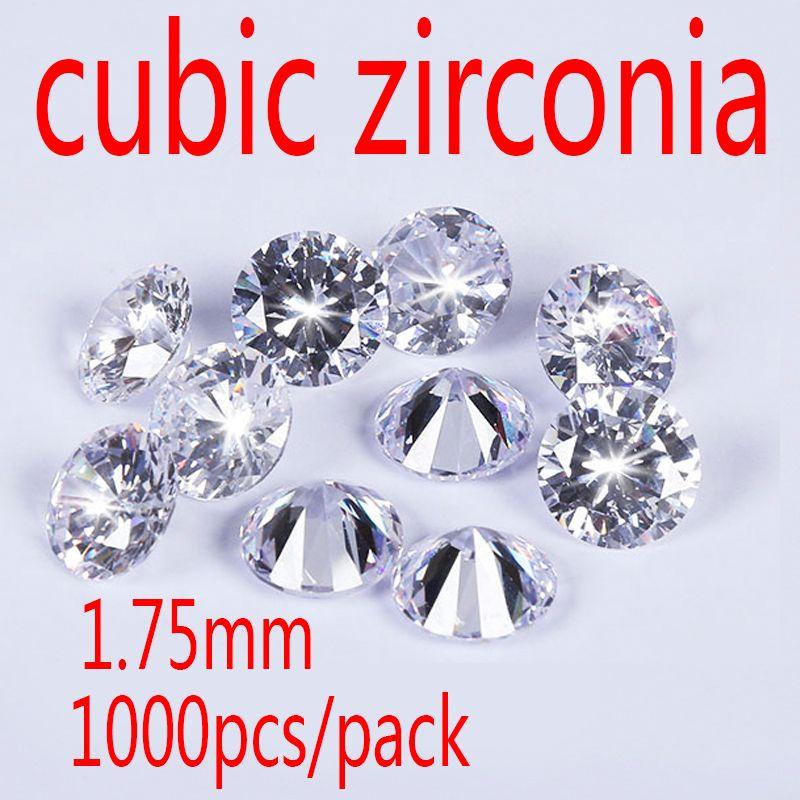 MRHUANG 1.75mm Cubique Zircone Pierre AAA Grade CZ Ronde Zircon Pedra de Zircon DIY Perles Fournitures pour les bijoux en gros