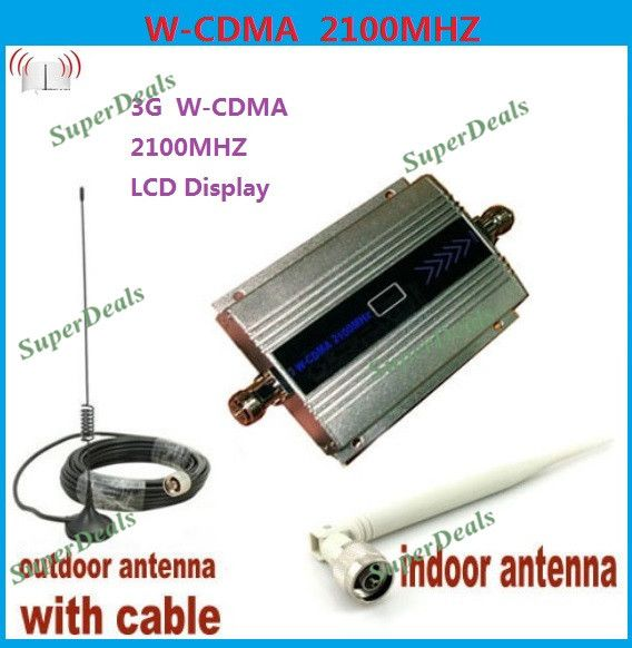 Hot! 3G Mini WCDMA 2100MHZ Mobile Phone Signal Booster Signal Repeater Cell Phone Amplifier With Cable + Antenna Drop Shipping