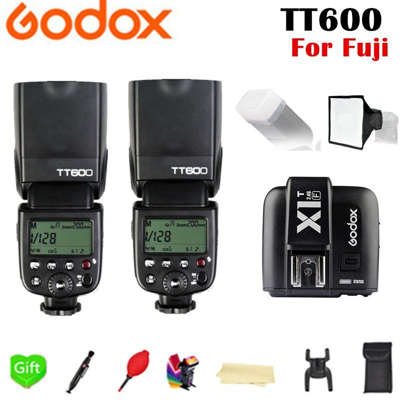 2X Godox TT600 TT600S GN60 2.4G Wireless X System TTL HSS Flash Speedlite + X1T-F Transmitter Trigger for Fujifilm Fuji Camera