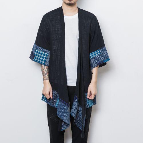 Male Fashion Casual Long Kimono Jacket Outerwear Overcoat Men Chinese Style Half Sleeve Trench Cardigan Coat