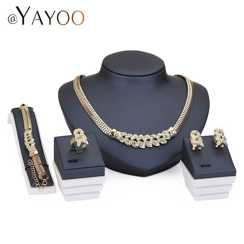 Estilo de Imitación de Cristal Perlas Accesorios de La Boda Conjuntos de Joyas de Oro africano de Color Nupcial Collar Pulsera Pendientes Anillos Set