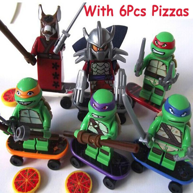 6Sets Turtles Leonardo Raphael Michelangelo Donatello Model Building Blocks Enlighten Figure Toys For Children Compatible Legoe