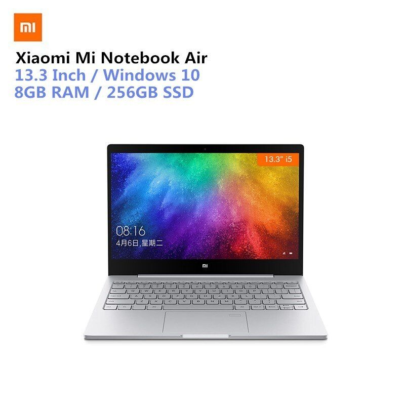 Xiaomi Mi Notebook Air 13.3 Win10 CN Version Intel Core I5-7200U Dual Core 2.5GHz 8GB RAM 256GB SSD Fingerprint Sensor Type-C