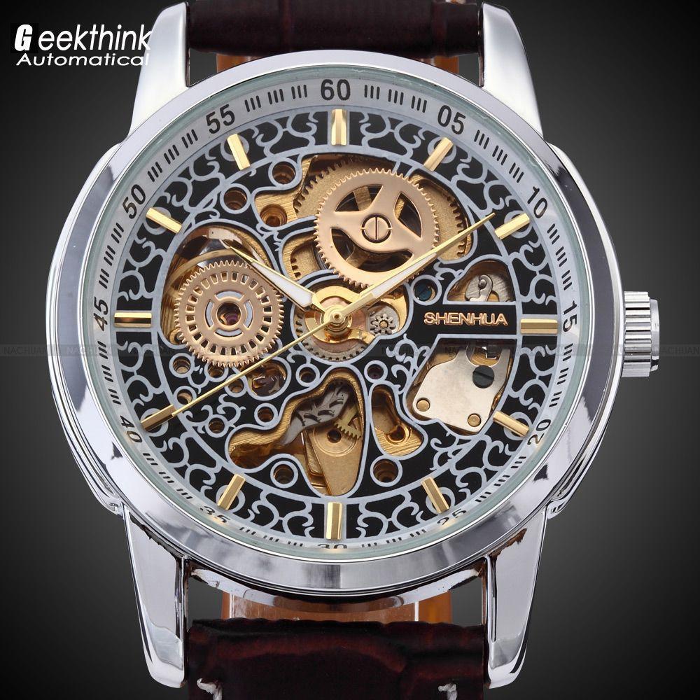 Shenhua Для Мужчин Скелет автоматические часы наручные часы мужской кожаный ремешок Античный стимпанк Повседневное Скелет механические часы ...