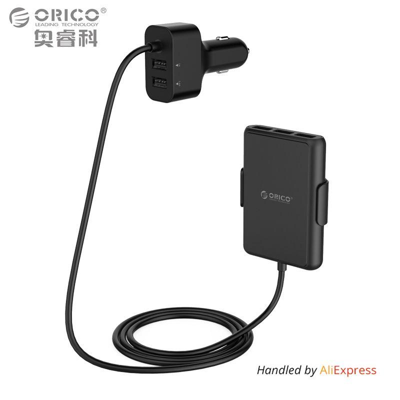 ORICO 5 Ports QC3.0 USB Auto-ladegerät Universal USB Schnelle Adapter 52 Watt für MPV Auto Handys Tablet PC 12 V/24 V Schwarz
