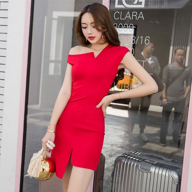 Runway Design Asymmertrical Sexy Summer Dress 2017 New Solid Color Strapless Sleeveless Dresses Women Party Dress 2XL
