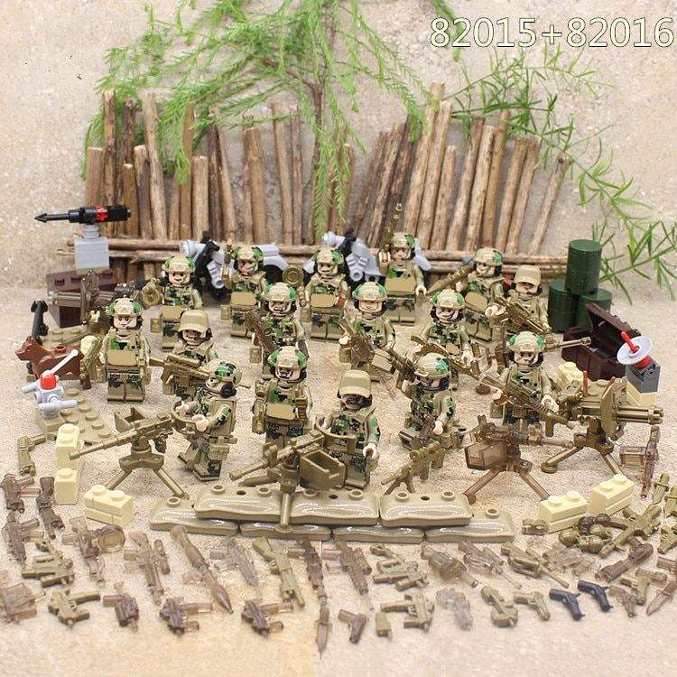 Special Forces Military SWAT Army Weapon Soldier Marine Corps Building Blocks Figures Toy Children Gift Compatible With Lego