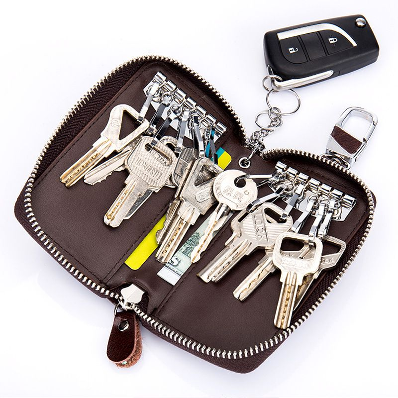 Key Holder Split Leather Key Wallet Women Keychain Covers Zipper Key Case Bag Men Housekeeper Keys Organizer Holder