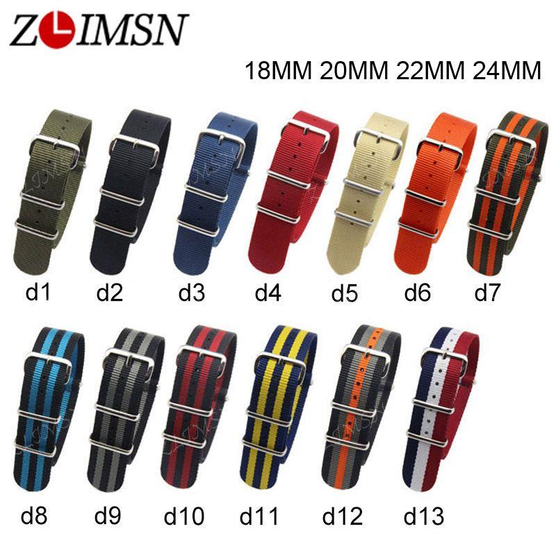 ZLIMSN Pour L'otan En Nylon Bracelet Bracelets Ceinture Boucle En Métal armée Sport Hommes de Bracelet 18mm 20mm 22mm 24mm Relojes Hombre 2017