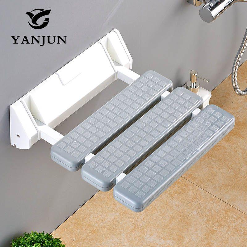 YANJUN Folding Wall Shower <font><b>Seat</b></font> Wall Mounted Relaxation Shower Chair Solid <font><b>Seat</b></font> Spa Bench Saving Space Bathroom YJ-2030