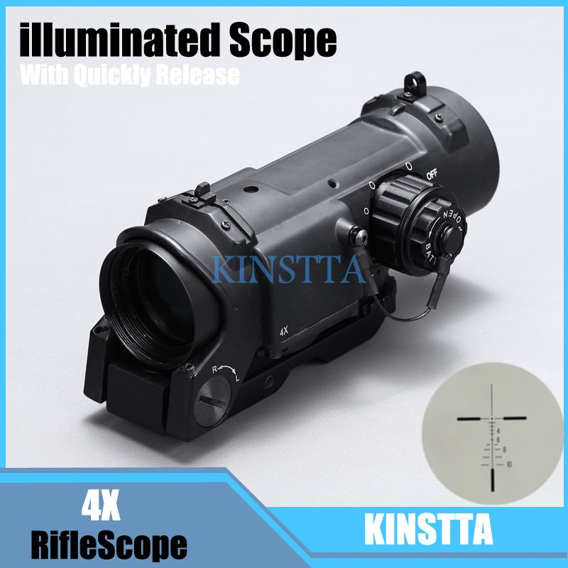 Tactical 4x Fixed Dual Role Optic Rifle Scope/ Airsoft Scope/ Magnificate Scope Fit 20mm Weaver Picatinny Rail For Hunting